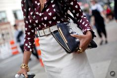 Burberry Heart shirt worn w/ a pencil skirt &  python clutch #StreetStyle