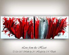 Große Wandkunst rot moderne Kunst von ContemporaryArtDaily auf Etsy
