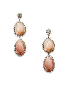 Blake Scott  Peach Moonstone & Pave Diamond Double Drop Earrings