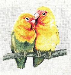 Two love birds to start your weekend! #crossstitch #needle #thread #relax #craft #home #love #lovebirds