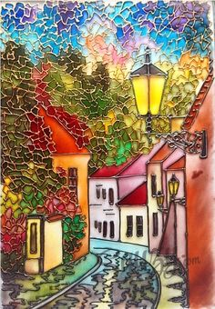 Workshop on stained glass painting: Quiet Lane painting. Stained Glass Paint, Stained Glass Designs, Stained Glass Patterns, Mosaic Art, Mosaic Glass, Glass Art, Mosaics, Glass Painting Designs, Paint Designs