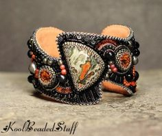 Ghostly Gardens by koolbeadedstuff on Etsy Bead Embroidered Bracelet, Embroidery Bracelets, Beaded Cuff Bracelet, Bead Embroidery Jewelry, Beaded Embroidery, Cuff Bracelets, Seed Bead Jewelry, Jewelry Art, Beaded Jewelry