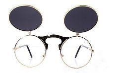Retro Circle Steampunk Flip Up Sunglasses