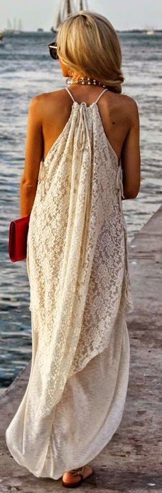 Amazing White Lace. Long Maxi Dress. Perfect for Summer and Beach.