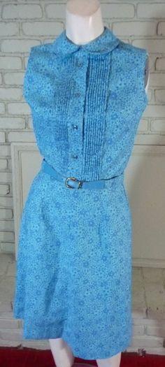 Vintage 70s Blue Preppy Shirtwaist dress S true vintage Country Cousins cotton #CountryCousins