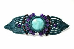 Macrame Bracelet with Amazonite, Amethyst and Garnet Stones by Coco Paniora Salinas