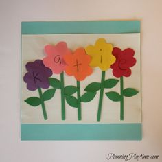 Flowers name craft for preschool, and other cute name crafts.