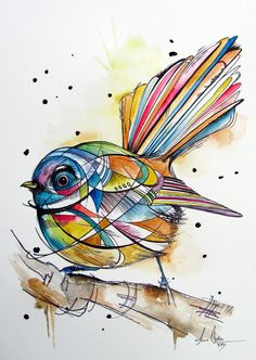This little Fantail was inspired by geometric shape art, it incorporates may colours while still maintaining a few & colours to the bird. The eye was an important feature for me on this one and I wanted it to be bold and to capturing sole of the painting. Abstract Watercolor Art, Watercolor Bird, Watercolor Animals, Watercolor Paintings, Tattoo Watercolor, Watercolours, Geometric Shapes Art, Bird Graphic, Nz Art