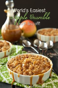 World's Easiest Apple Crumble ~ w/ Biscoff cookies & caramel sauce | recipe from The Café Sucre Farine
