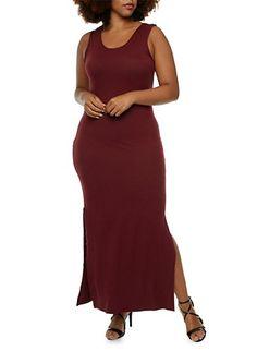 Plus Size Brushed Knit Maxi Dress,BURGUNDY