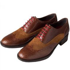 Cordings Brown Leather and Suede Brogue Ladies Shoes