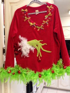 Grinch Ugly Christmas sweater Nicole Weekley Rugged Soul check out all my designs. I take orders and ship! https://www.facebook.com/RuggedSoulDesigns/