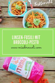 Testbericht: Linsen Fusili von DM, lowcarb, weniger Kalorien, schneller zubereitet. Der Test auf dem Blog. Die Nudeln wurden mit einem Broccoli-Pesto zubereitet. Die rote Farbe ist optisch sehr schön, auch der Geschmack sagt zu. Familienrezept, Produkttest, Linsen-Pasta.