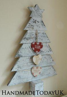 Handmade Rustic Driftwood style Wall Hanging Christmas Tree