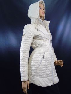 Laundry by Shelli Segal Beige Quilted Hooded Packable Coat Jacket Size Small #Laundry #Puffer #Casual