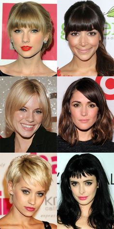 The Best (and Worst) Bangs for Oval Faces - Beauty Editor: Celebrity Beauty Secrets, Hairstyles Oval Face Bangs, Face Shape Hairstyles, Hairstyles For Oval Faces, Oval Face Short Hair, Hairstyles Bangs, Cool Hairstyles, Shaved Hairstyles, Hair Bangs, Beautiful Hairstyles