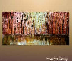 """Abstract Painting,Original Acrylic Art,Fine Art Painting,Colorful Painting,Acrylic on Canvas by Andrzej smykot, THE WOODS 24x48"""" by AndyArtGallery on Etsy"""