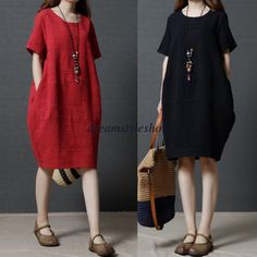 Fashion Women Casual Loose Cotton Linen Tunic Summer Long Shift Dress Plus Size | Clothing, Shoes & Accessories, Women's Clothing, Dresses | eBay!