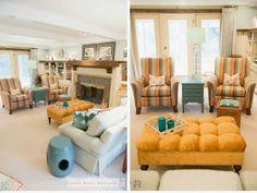 Rx Reveal: Harwood family room Room Rx Dark & Dreary to light & bright Ballard Designs Ottoman