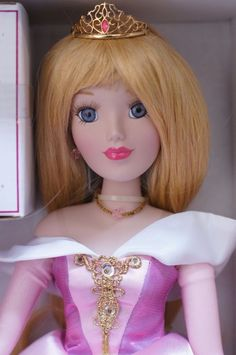 "Aurora Disney Classic Princess Brass Key 15"" Porcelain Doll & Castle Music Box #BrassKey"
