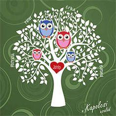 Családfa kép baglyokkal - zöld