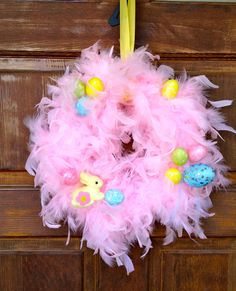 Easter wreath Pink Feather Boa