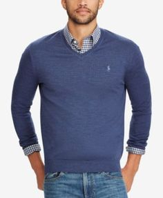 a066fb69 Polo Ralph Lauren Men's V-Neck Merino Wool Sweater - Shale Blue Heather S