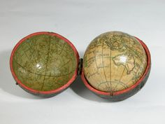 A pocket-sized terrestial globe bearing the date 1779 showing the spot where Captain Cook was killed in that year, and the tract of Captain Anson's round the world voyage of 1744. The hinged fish-skin case has a coloured print of the heavens applied to the inner surfaces.
