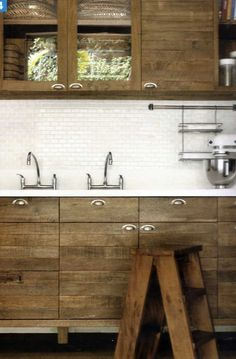 Modern kitchen with raw / unpainted wood cabinets - White back splash with small subway tiles - Stainless steel / polished nickel faucets - Contemporary meets rustic & natural