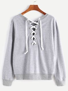 Heather Grey Lace Up Back Sweatshirt