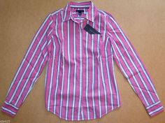 NWT Women Tommy Hilfiger Long-Sleeve Business Casual Shirt Pink Blue XS, X-Small #TommyHilfiger #ButtonDownShirt #Casual