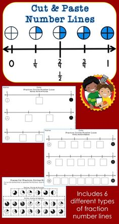 Use these fraction number lines to help students practice identifying and comparing fractions. Six different sets of number lines are included: fraction circles, fraction numbers, equivalent fraction squares, equivalent fraction numbers, mixed numbers and improper fractions.