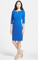 Classiques Entier® Three Quarter Sleeve Zip Front Italian Ponte Dress