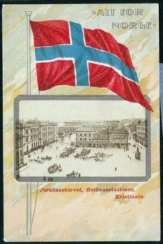 Patriotrisk kort ALT FOR NORGE. Montasjekort fra Kristiania med JERNBANETORVET og flagg. postgått 1917