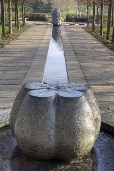 """Beside Still Waters"""" by Peter Randall Page, Water feature in Bristol Garden Fountains, Outdoor Fountains, Garden Ponds, Koi Ponds, Water Fountains, Water Pond, Water Garden, Landscape Architecture, Landscape Design"""