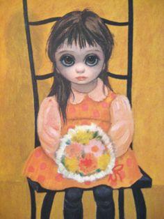 60s Vintage KEANE Big Eyed GIRL Art Print Titled Waiting For Grandmother