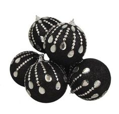 Amazon.com - 6 December Diamonds Black Glittered Shatterproof Christmas Ball Ornaments 3.75""