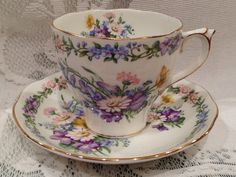Vintage ROSLYN Fine Bone China Tea Cup & Saucer by CupsAndRoses