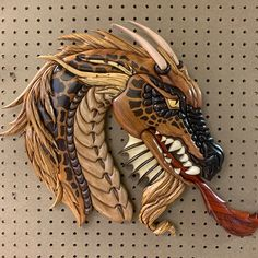 Free Scroll Saw Pattern: A Portrait of a Dragon Wood Carving Designs, Wood Carving Art, Wood Art, Woodworking Bandsaw, Intarsia Woodworking, Intarsia Wood Patterns, Viking Designs, Scroll Saw Patterns Free, Wooden Words