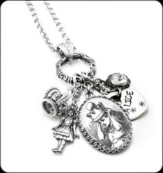 Silver Charm Necklaces Alice in Wonderland by BlackberryDesigns