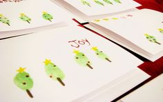 Thumb print Christmas tree cards - nice to include in Family Gifts versus gift tag?
