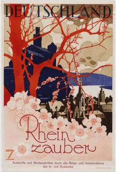german travel poster... reminds me of the DC Cherry Blossoms that are already starting to pop this spring. Plus its Germany, so added bonus there! Vintage travel posters are so cool!! I need to find a place in my house for this.