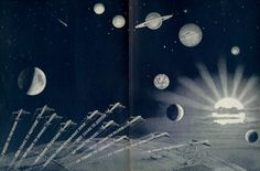 1930's Flying Time to Moon Sun and Planets
