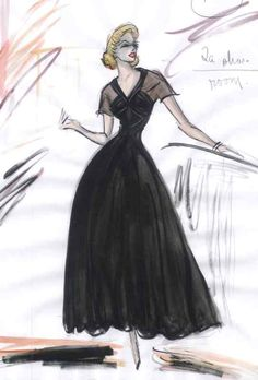 REAR WINDOW (GRACE KELLY) - ORIGINAL COSTUME SKETCH (REPRODUCTION) BY EDITH HEAD