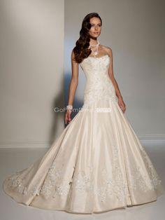 Mermaid Satin Strapless lace-up back beaded Wedding Dress - gopromdres.com