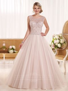 Diamante Embellished Illusion A-line Low Back Wedding Dress