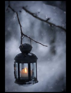 snow, candlelight, lantern...beautiful!