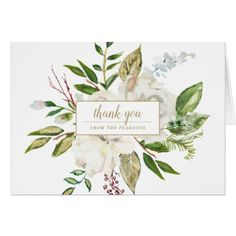 White Painted Floral Wedding Photo Thank You Card - thank you gifts ideas diy thankyou Photo Thank You Cards, Custom Thank You Cards, Wedding Thank You Cards, Thank You Gifts, Teacher Thank You Notes, Gourmet Gift Baskets, Watercolor Invitations, Coffee Gifts, Candy Gifts