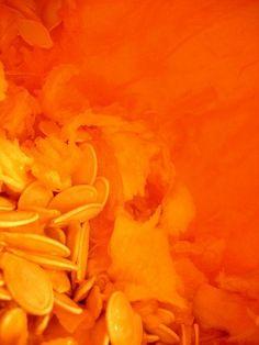 Inside the pumpkin...and it's orange.