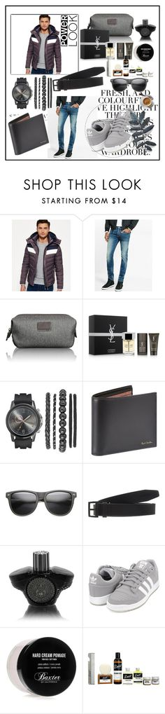 """""""Power look!!"""" by sadeta-v ❤ liked on Polyvore featuring Folio, Superdry, Express, Yves Saint Laurent, Paul Smith, ZeroUV, Dsquared2, adidas Originals, Baxter of California and Detroit Grooming Co."""